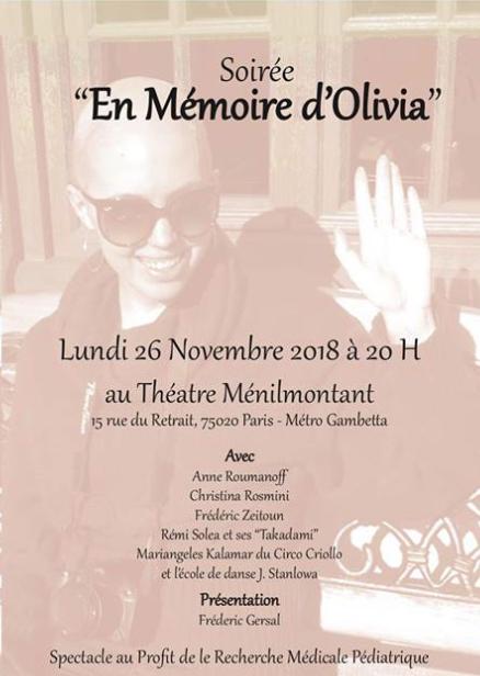 Lundi 26 novembre 2018: spectacle-hommage à Olivia au théâtre Ménilmontant