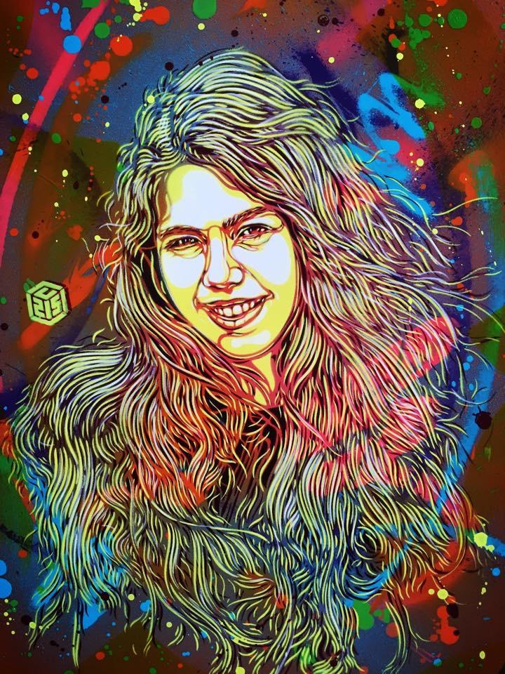 Le portrait d'Olivia réalisé par l'artiste pochoiriste Christian Guémy, alias C215