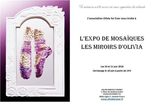 """10 et 11 juin 2016: franc succès pour l'expo-vente de mosaïques """"Les miroirs d'Olivia"""" au profit de la recherche."""