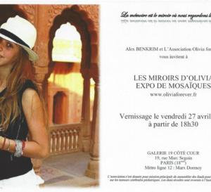 """Belle affluence,  le 27 avril 2018 à notre expo-vente de mosaïques """"Les miroirs d'Olivia"""" au profit de la recherche médicale"""